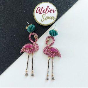 Crystal Studded Summer Dangling Flamingo Earrings